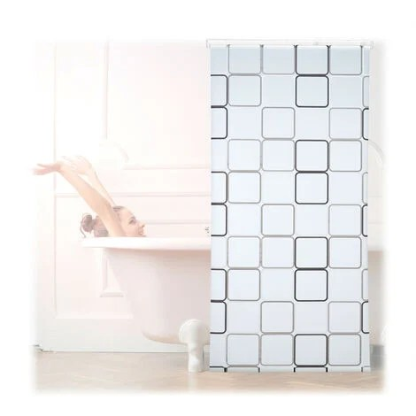 relaxdays shower curtain roller blind water repellent bath shower retro from ceiling 100x240cm semi transparent
