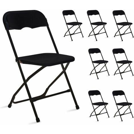 chaise pliante noire lot de 8 reception jardin