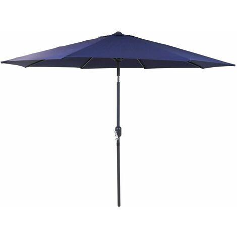 charles bentley garden metal patio garden umbrella parasol crank tilt blue blue