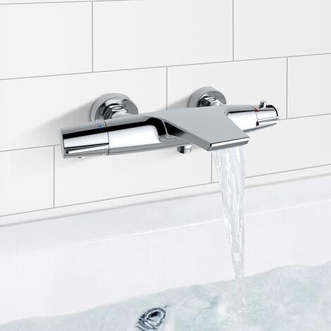 robinet de baignoire cascade mitigeur thermostatique de douche pour baignoire robinet de douche laiton chrome design elegant