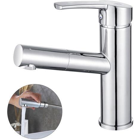 robinet salle de bain avec douchette extractible robinet de lavabo en laiton chrome mitigeur de lavabo pour eau chaude et froide