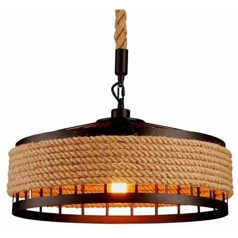 suspension luminaire industriel retro 40cm noir la lumiere au plafond en fer corde de chanvre vintage loft lustre plafonnier decoration pour salon