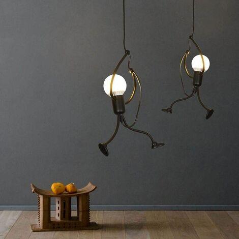 lustre suspension fer gens design petite personne creatif luminaire pour salon chambre enfant e27 noir