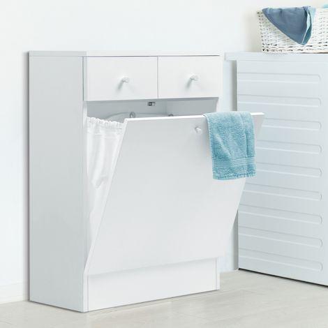 meuble avec bac a linge integre en bois blanc