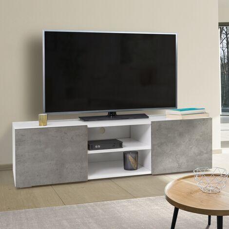 meuble tv eli blanc portes effet beton