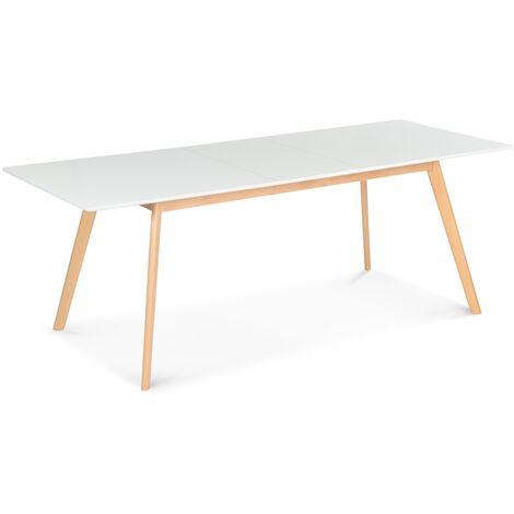 table scandinave extensible inga 160 200 cm blanche