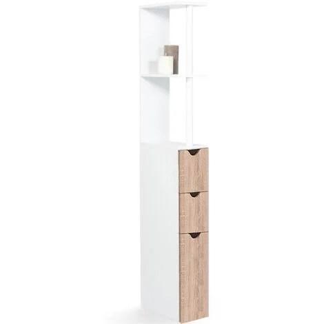 meuble wc etagere willy bois 3 portes coloris hetre gain de place pour toilettes