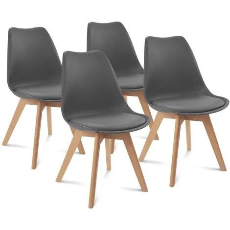 lot de 4 chaises sara gris fonce pour salle a manger