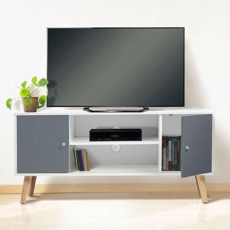 meuble tv effie scandinave 2 portes bois blanc et gris