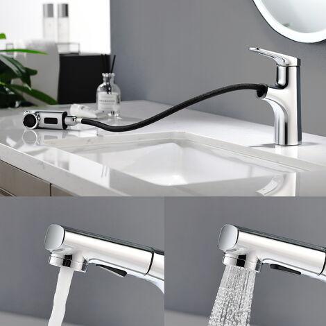 lonheo mitigeur lavabo avec douchette extractible 2 jets moderne robinet pour lavabo et vasque salle de bain robinetterie mitigeur eau et froide