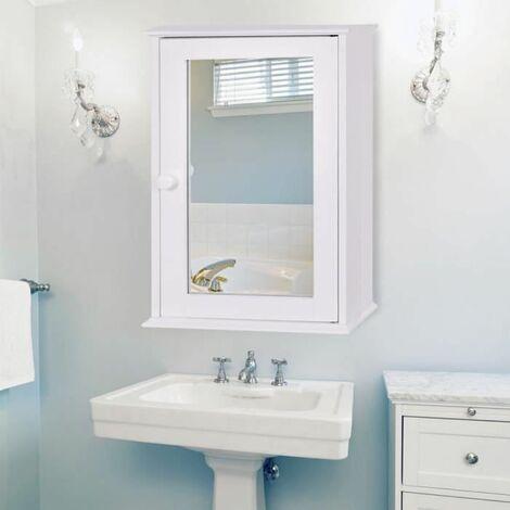 costway armoire murale salle de bain placard de rangement toilettes avec miroir meuble de rangement avec etageres a hauteur reglable 34 x 15 x 53