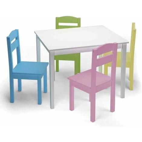 costway ensemble table et chaises enfant en bois pour travailler manger jouer 66 x 56 x 49cm table en blanc et chaises colores