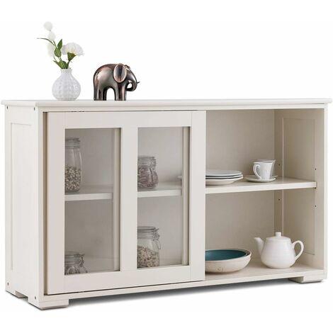 costway buffet de cuisine meuble rangement avec 2 etageres porte coulissante design simple et contemporain ideal pour cuisine chambre salon blanc