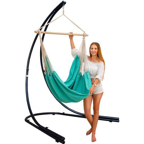 support hamac avec chaise suspendue xxl fauteuil de balancoire 360 bleu clair