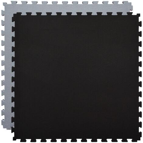 eyepower tapis puzzle de fitness 90x90cm protection sol de sport en mousse eva epais 20mm extensible reversible gris noir