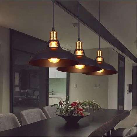 suspension luminaire industrielle vintage 2pcs lustre abat jour metal