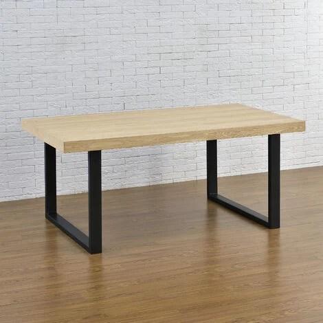 set de 2 pieds de table pied de meuble rectangulaire pied de table a manger avec protecteur de sol et accessoires de montage metal revetu par poudre