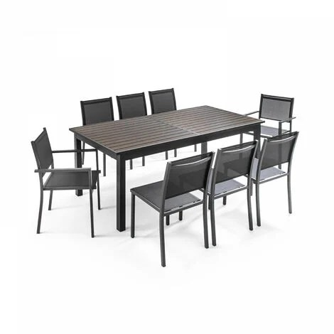 table de jardin extensible 10 places en aluminium et polywood nice marron gris