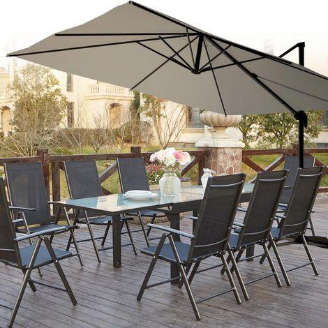 salon de jardin aluminium brescia 8 parasol deporte cesare blanc 4x3 m
