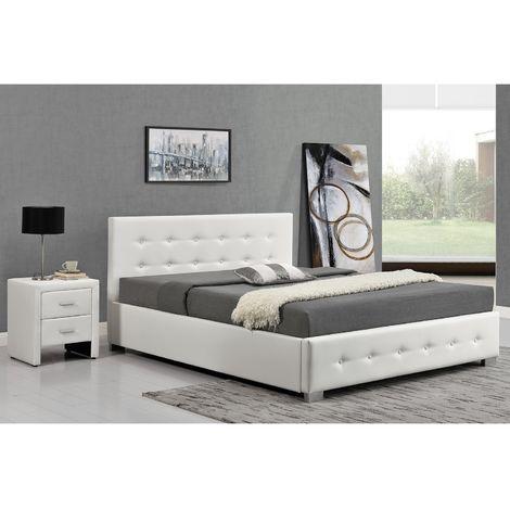 lit newington structure de lit capitonnee blanc avec coffre de rangement integre 140x190 cm
