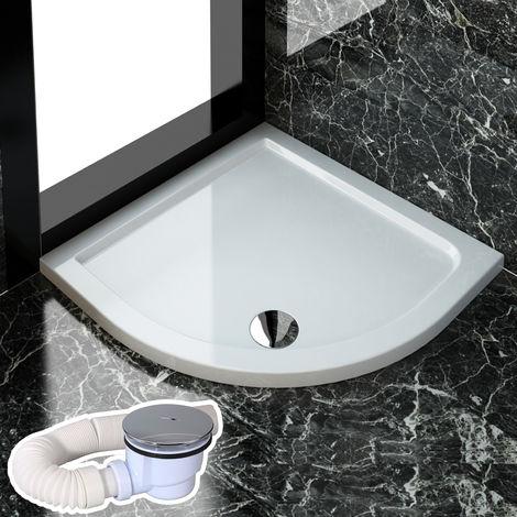sirhona receveur de douche en quart de cercle 100 x 100 cm avec raccord de vidange 01