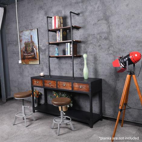 fer retro industriel tuyau etagere bricolage rangement mural suspendu support de montage ouvert bibliotheque du home office materiel de cuisine 4