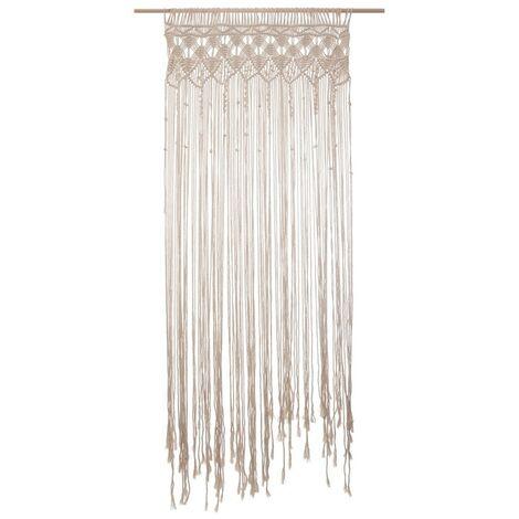 rideau fil en macrame ete 90x200 cm beige