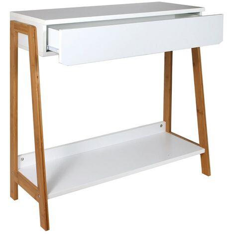 console 1 tiroir blanc et bois blanc