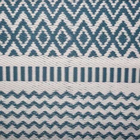 tapis exterieur 90x180 losange canard bleu