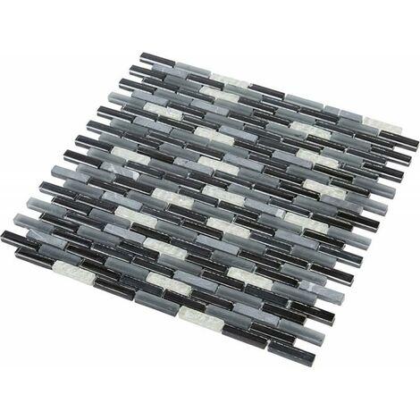 mosaique verre black grey barrettes noir