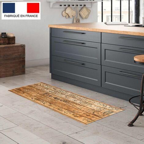 tapis cuisine en vinyle pvc tarkett 49 5x109 pour sol cuisine sous evier ou salle de bains style bistrot motif bon appetit