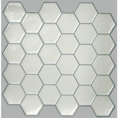 stick tile sticker carrelage mural faience adhesive motifs hexagones blancs 4 plaques 26x26cm blanc