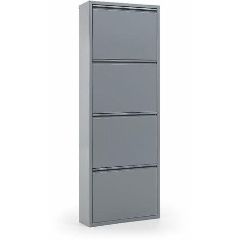 kave home meuble a chaussures ode gris en acier avec 4 compartiments pour 12 paires de chaussures