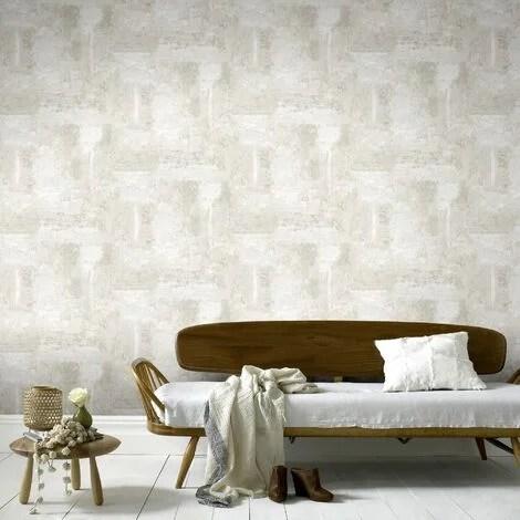 papier peint intisse luxe beton 1005 x 52cm blanc casse