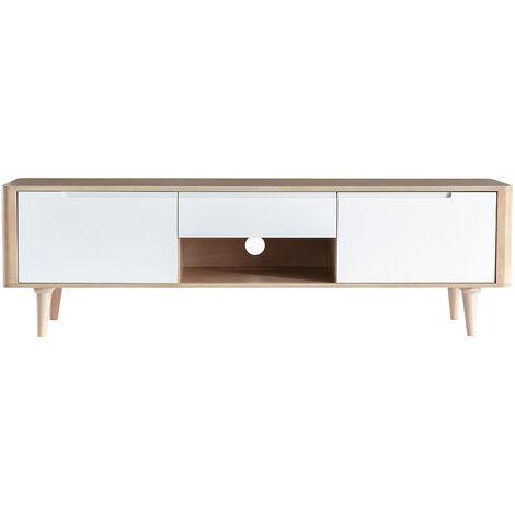 meuble tv scandinave frene et blanc gotland