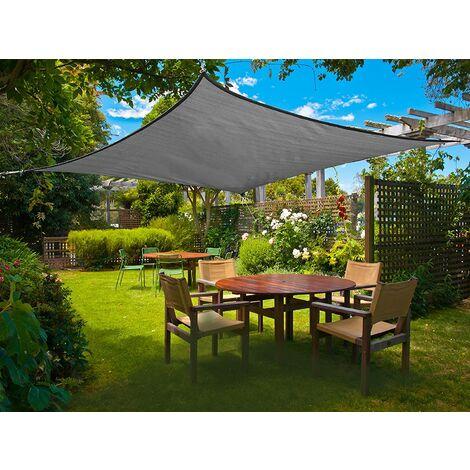 voile d ombrage rectangulaire 3 x 5 metres toile resistante et impermeable pour exterieur jardin couleur gris