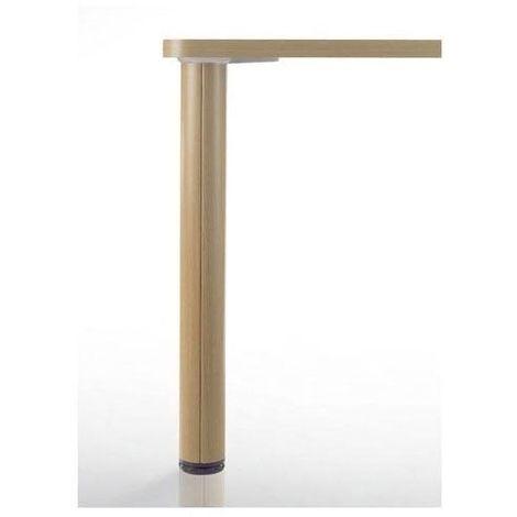 pied de table en bois et aluminium o80 mm type de section ronde reglage 30 mm decor hetre hauteur 700 mm diametre 80 mm