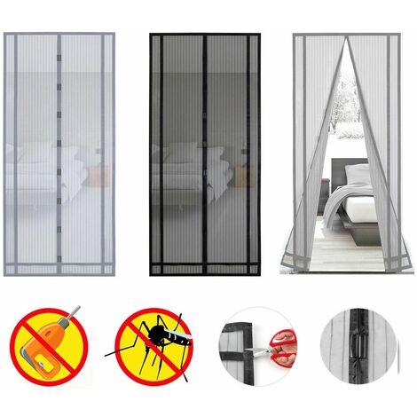 moustiquaire rideau magnetique pour porte de balcon porte cave porte de terrasse decoupable en hauteur et largeur 220x100 cm gris