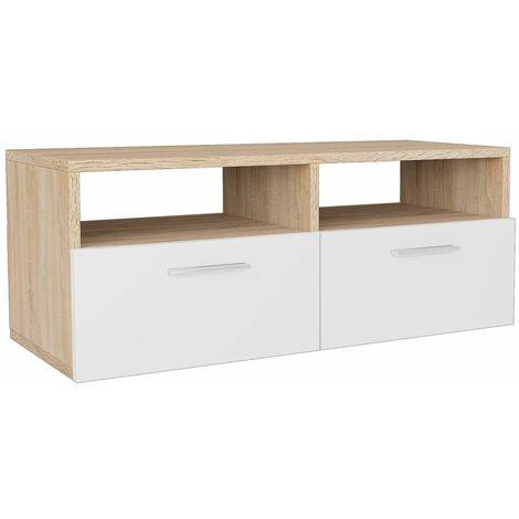 meuble tele buffet tv television design pratique agglomere 95 cm chene et blanc blanc