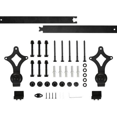 wyctin 200cm quincaillerie kit de rail roulettes pour porte coulissante pour porte suspendue en bois porte non inclus