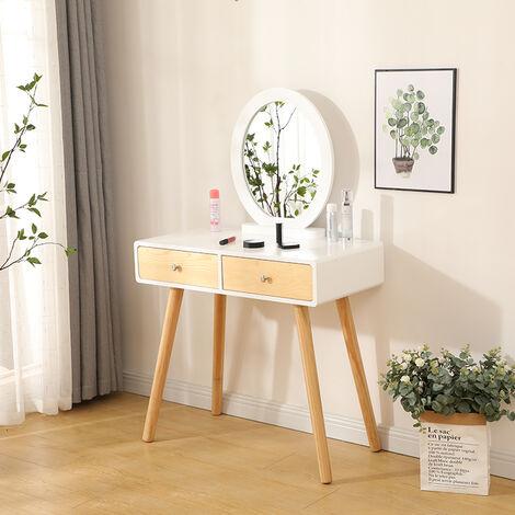 wyctin coiffeuse design 2 tiroir avec coulisses miroir rond tabouret housse lavable 80 x 40 x 125 cm l x l x h