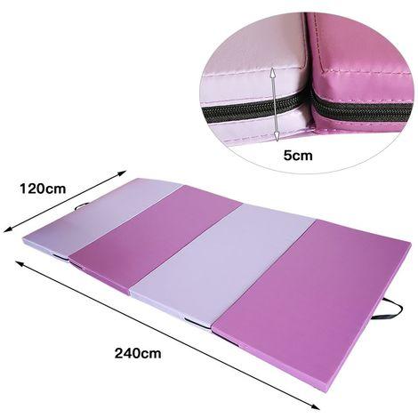 wyctin tapis de gymnastique pliable tapis de sol 240 120 5cm matelas de gym epais et pliable pour la maison violet