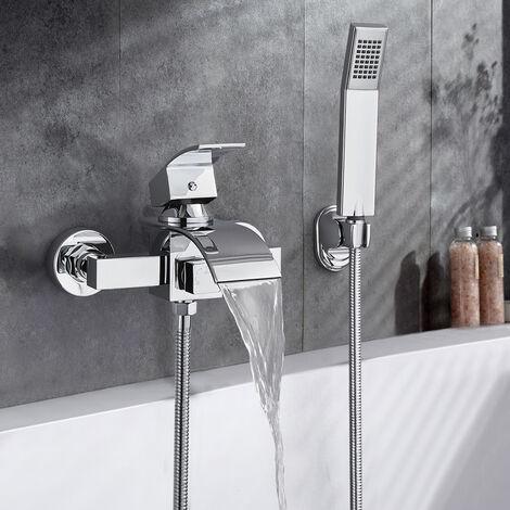 robinet de bain carre mitigeur de baignoire cascade en laiton avec douche a main monte mur pour salle de bains chrome cromo