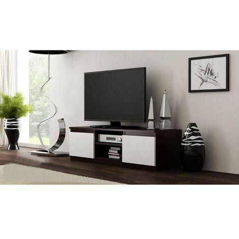 meuble tv moderne pour salon 120 cm wenge blanc
