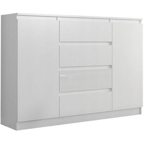 porto w1 commode contemporaine meuble rangement chambre salon 140x40x98 cm 4 tiroirs 2 portes finition laquee buffet blanc gloss