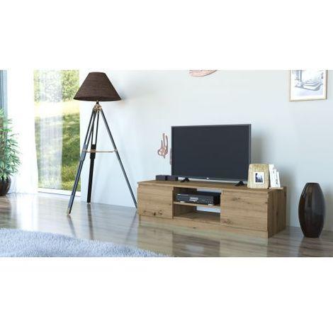 tivoli meuble bas tv contemporain 40x120x36 salon sejour 2 niches 2 portes rangement moderne materiel tele audio video chene artisan