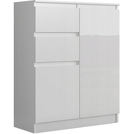 lisbon w1 commode contemporaine chambre salon bureau 98x80x40cm rangement 2 tiroirs 2 portes buffet style moderne blanc laque