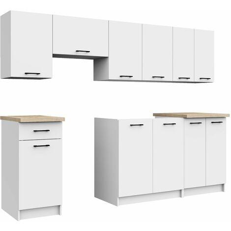 astra cuisine complete lineaire modulaire 240cm 7 pcs plan de travail inclus ensemble meubles cuisine blanc blanc