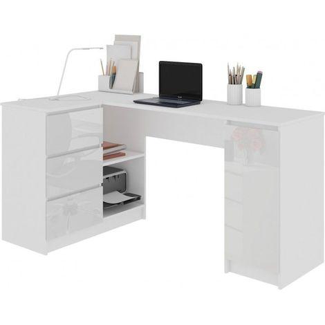 balaur bureau informatique d angle moderne 155x85x77 cm 3 tiroirs gloss grandes niches table ordinateur multi rangements blanc blanc laque