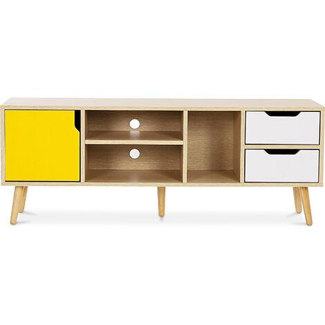 meuble de tv buffet style scandinave aren bois jaune